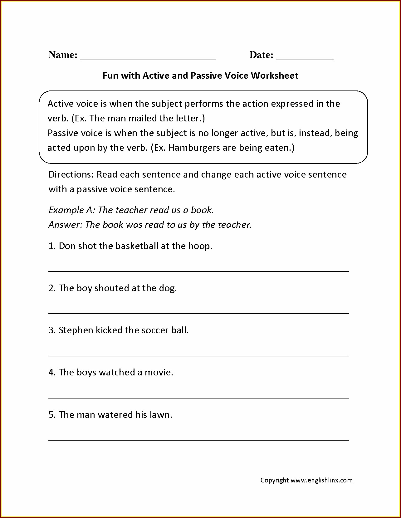 English Grammar Worksheets For Grade 6 With Answers