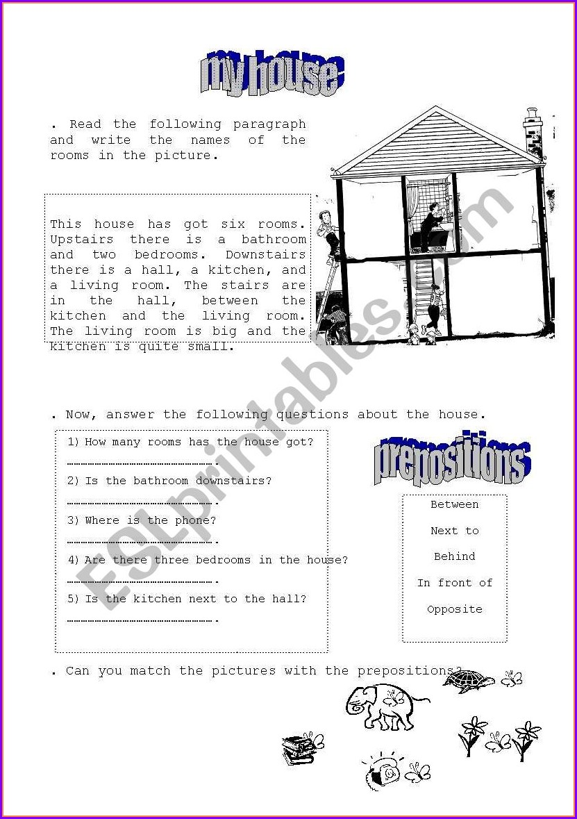 English My House Worksheet