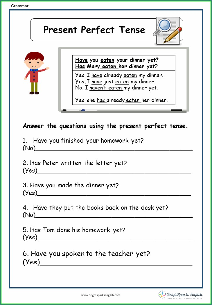 English Present Perfect Worksheet