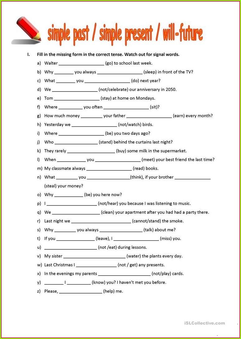 English Simple Past Tense Worksheet
