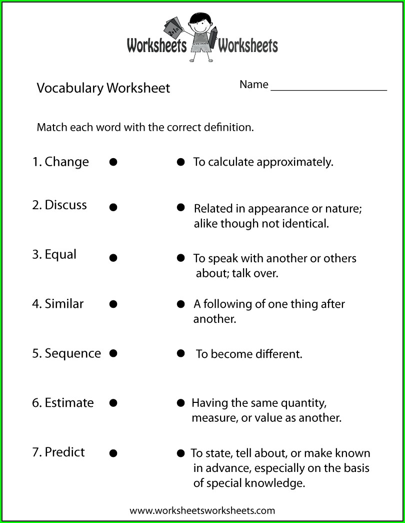 English Vocabulary Worksheet For Grade 3