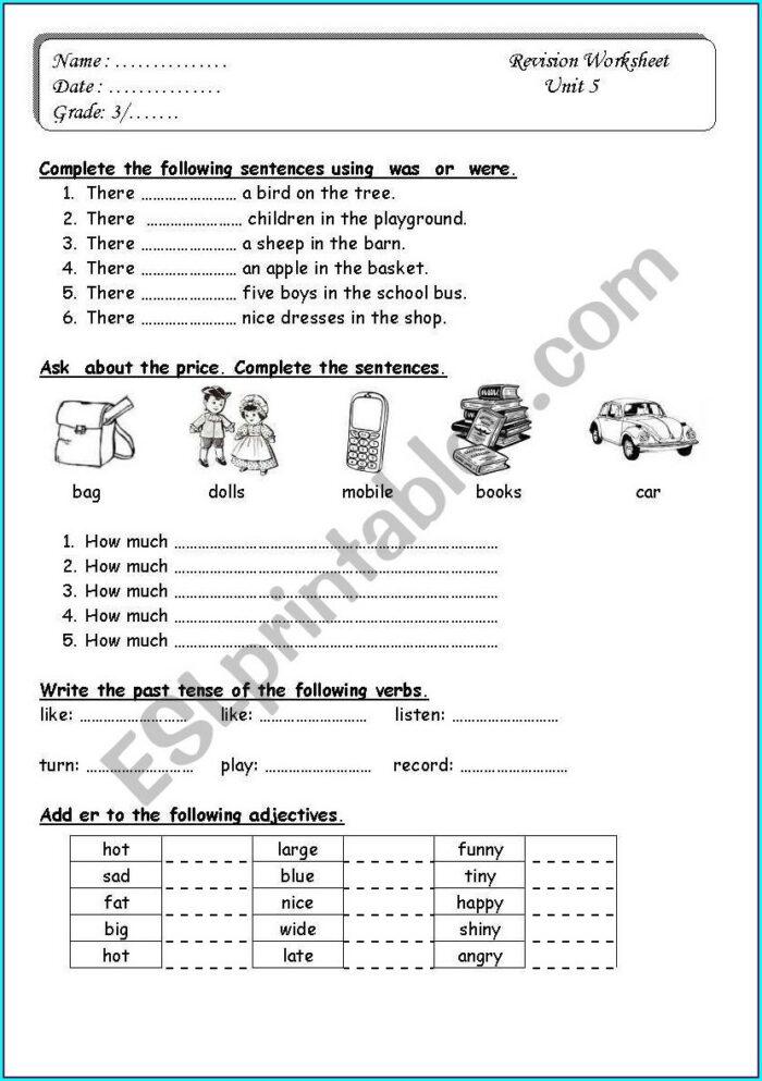 English Worksheet For Grade 3