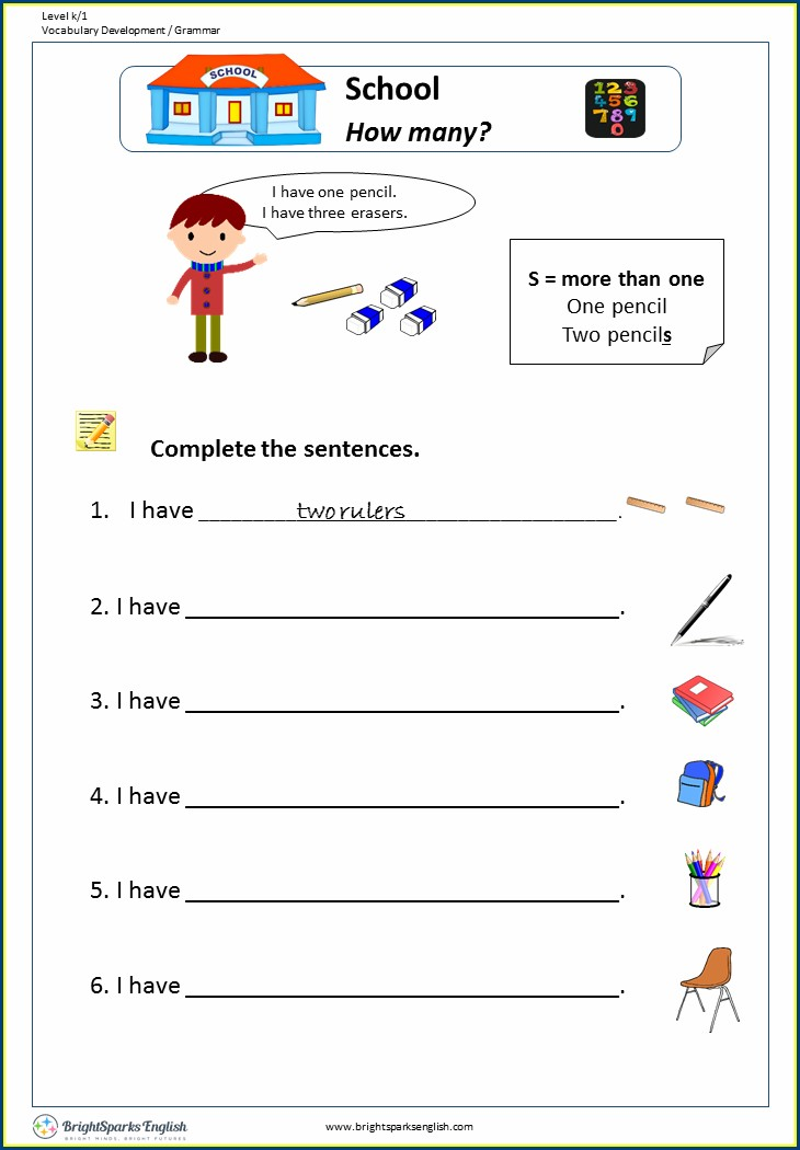English Worksheet How Many