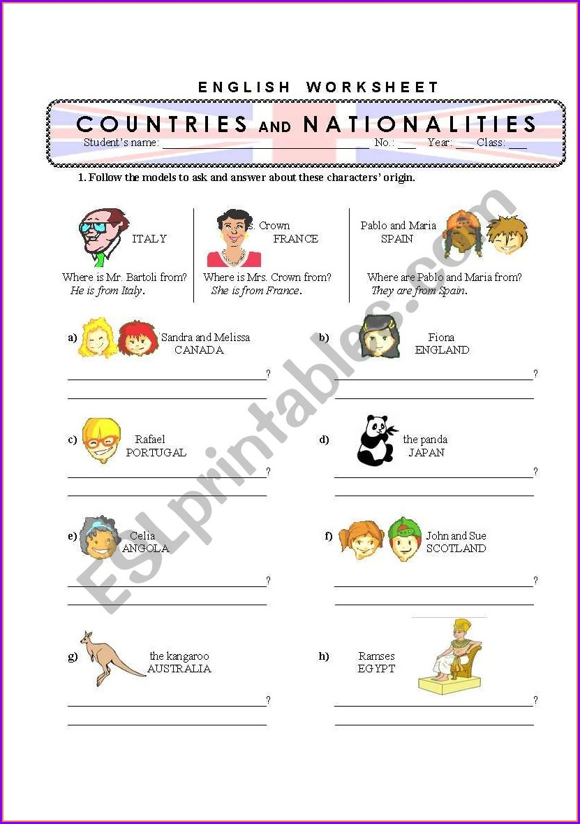 English Worksheet Nationalities And Countries