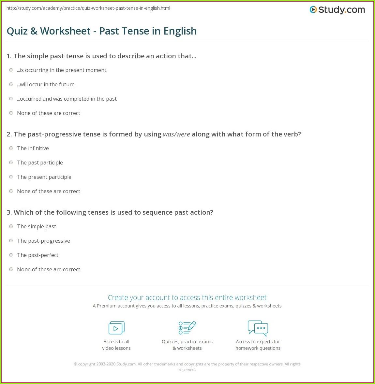 English Worksheet Past Tense