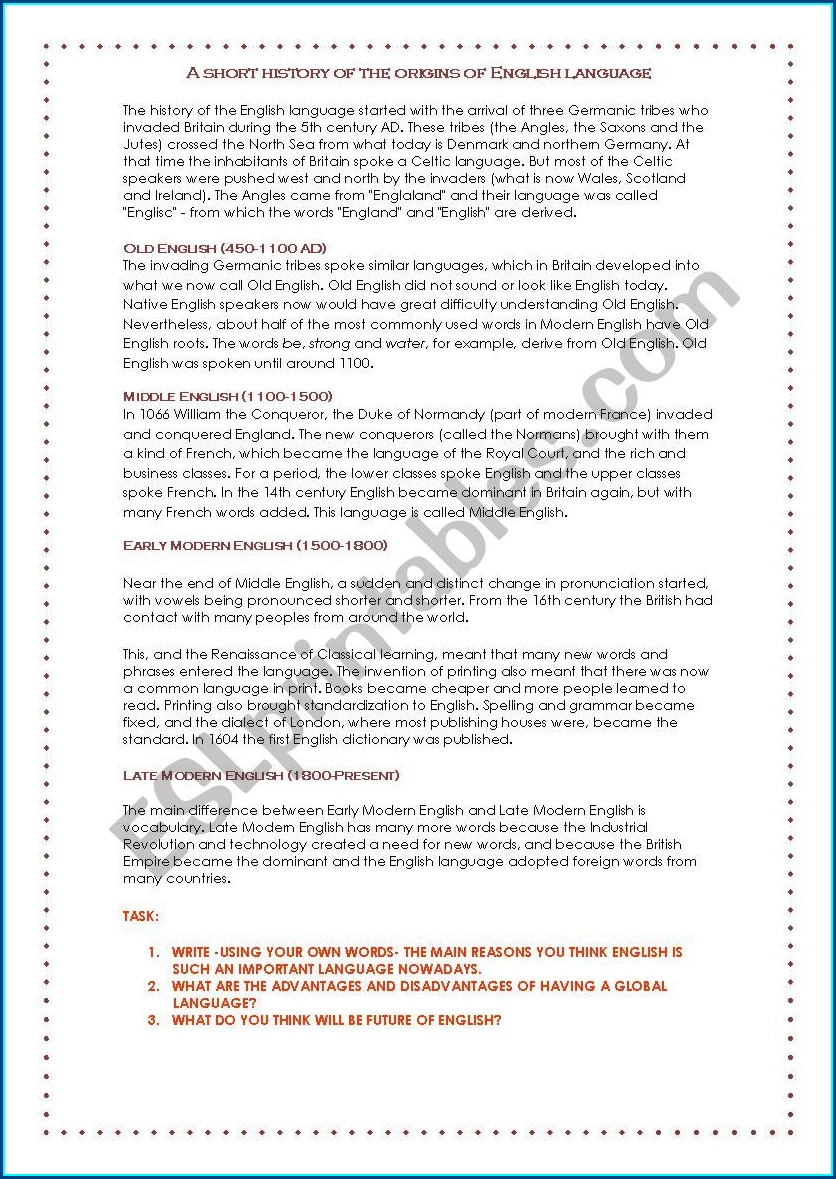 English Worksheet Standard 1