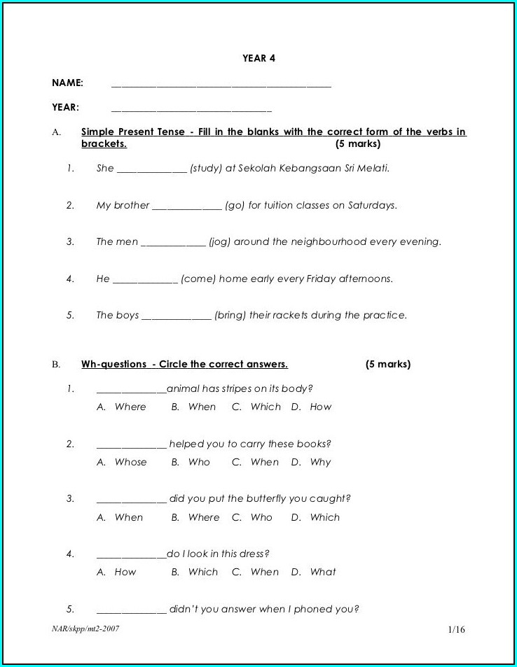 English Worksheet Year 4 Malaysia