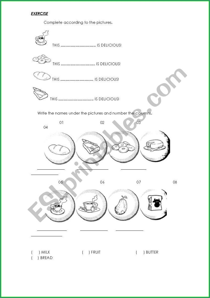 English Worksheets About Food
