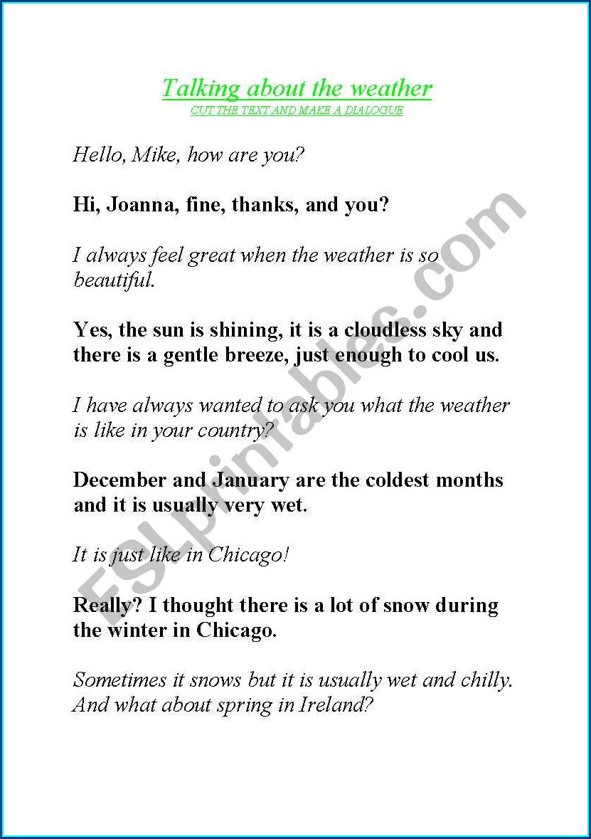 English Worksheets About The Weather