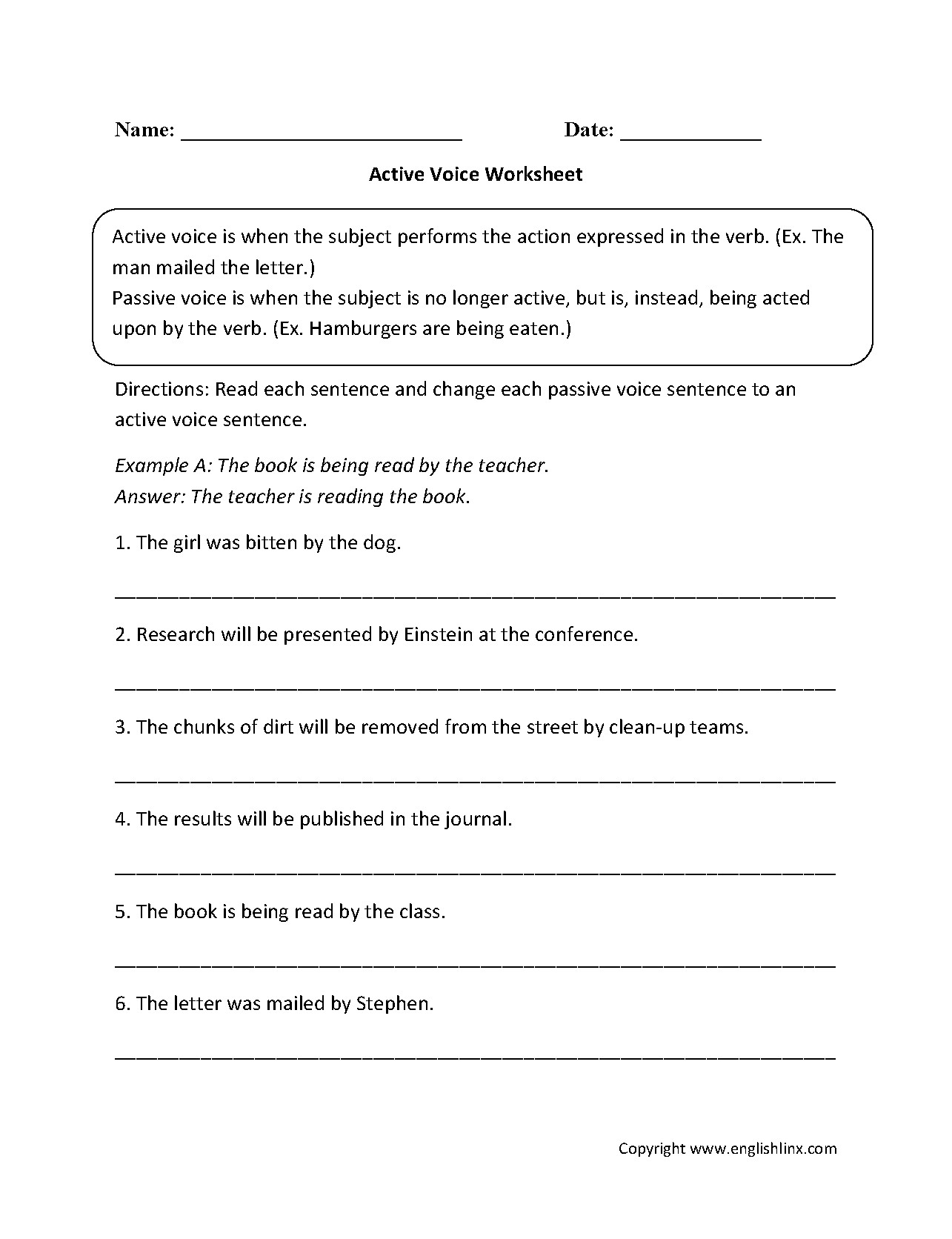 English Worksheets Active Passive Voice