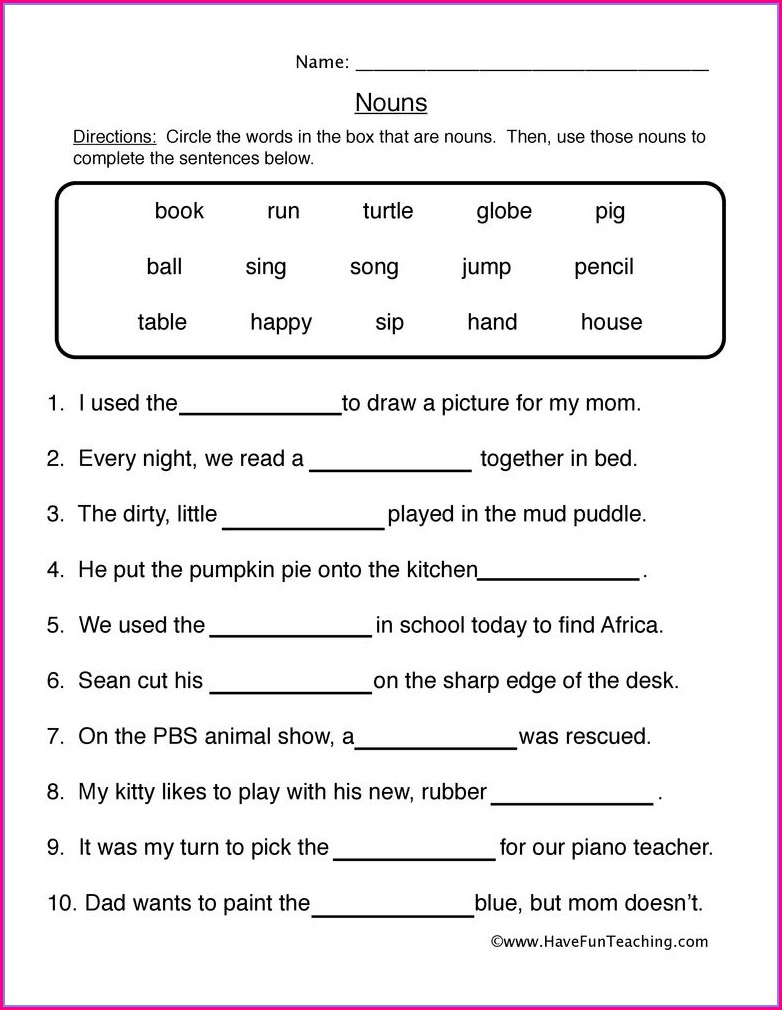 English Worksheets For Grade 1 Nouns
