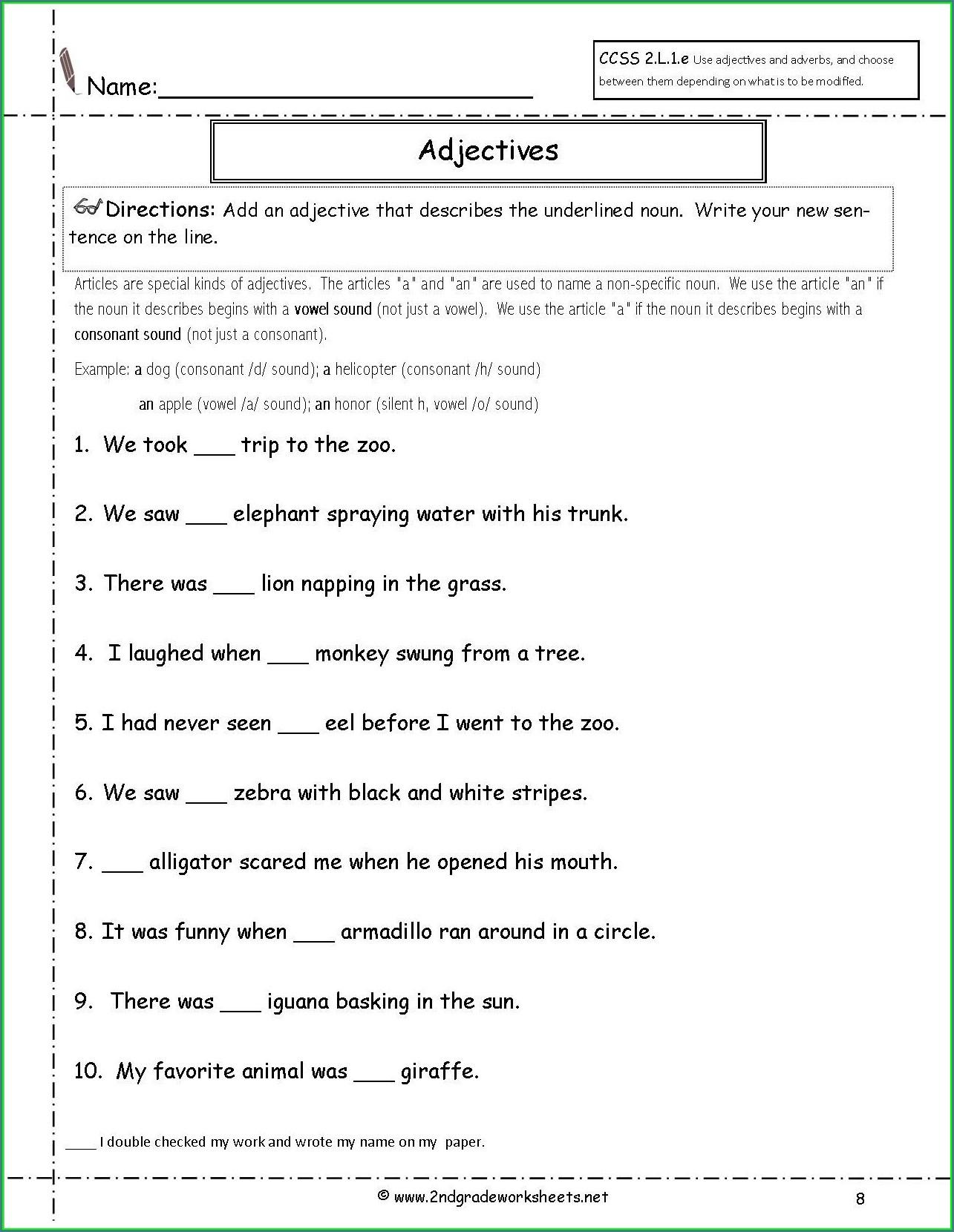 English Worksheets For Grade 2 Printable