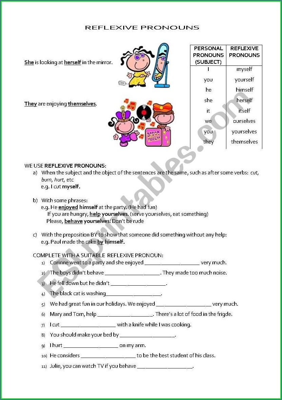 English Worksheets Reflexive Pronouns