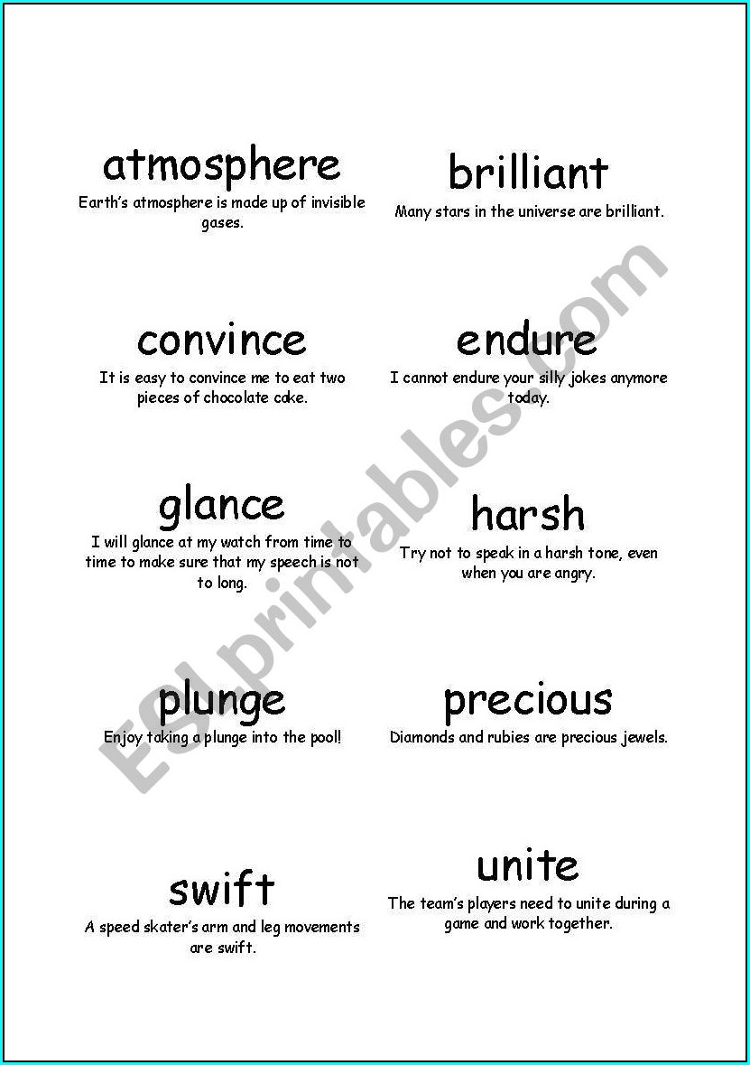 English Worksheets Vocabulary Words