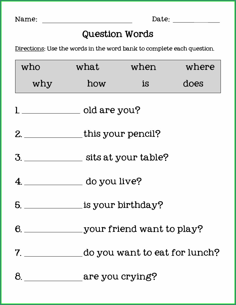 English Worksheets Wh Words