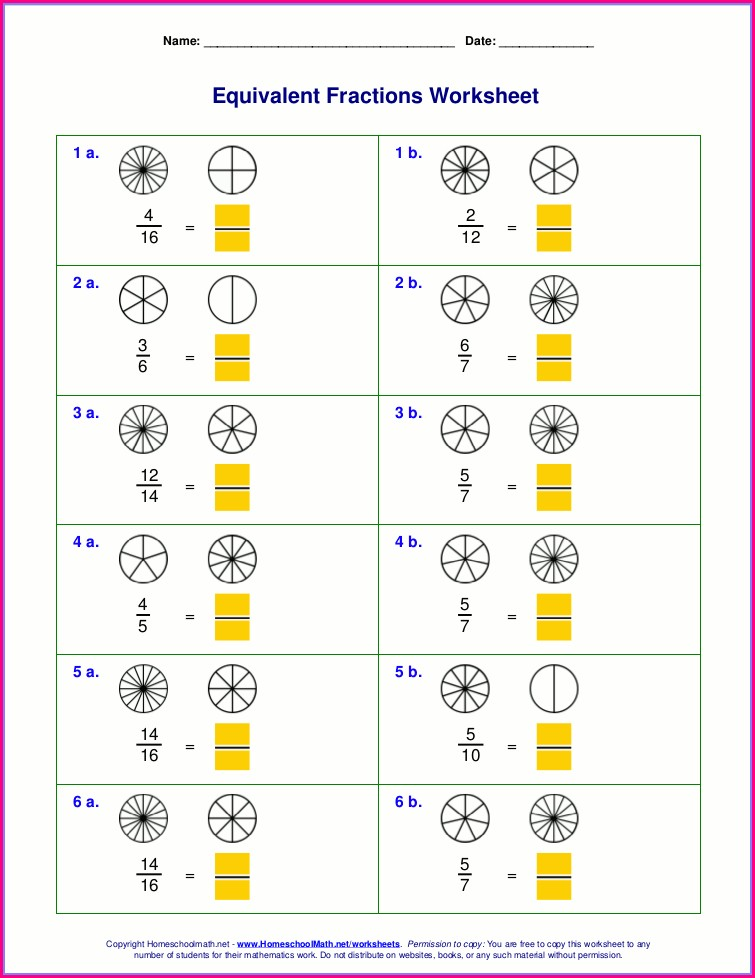 Equivalent Fractions Worksheet Using Pictures