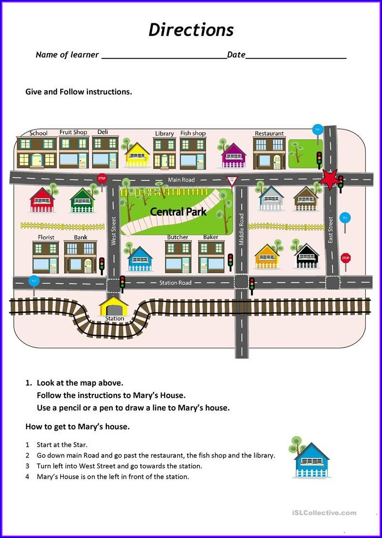 Esl Map Directions Worksheet
