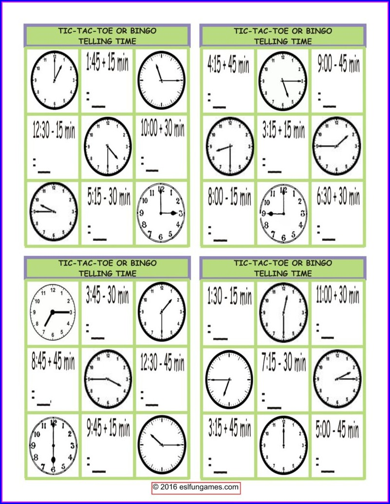 Esl Time Bingo Worksheets