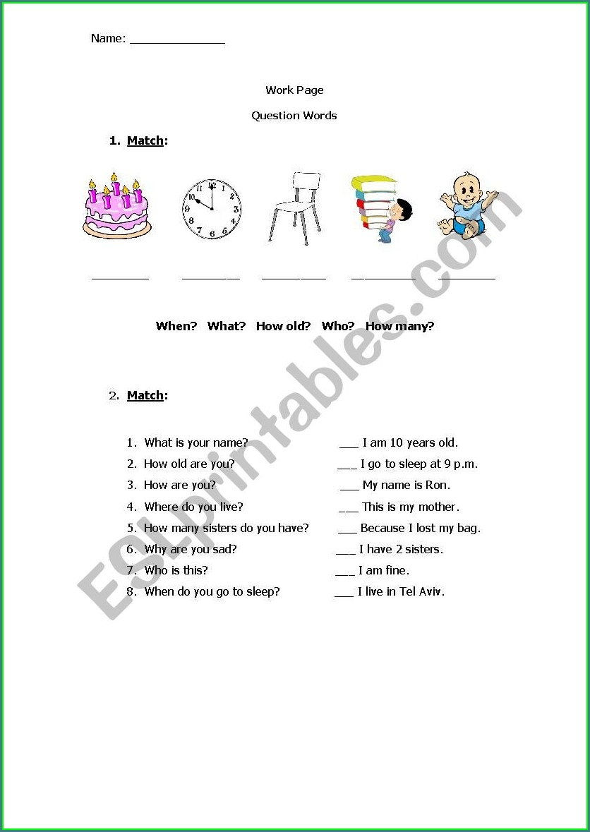 Esl Wh Words Worksheet