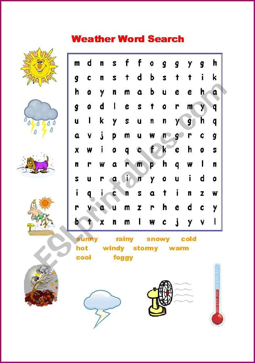 Esl Worksheet Word Search