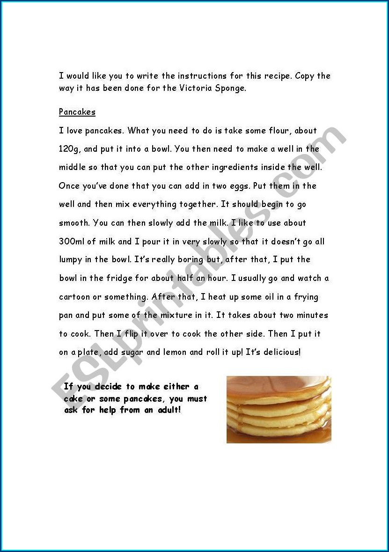Esl Writing Instructions Worksheet