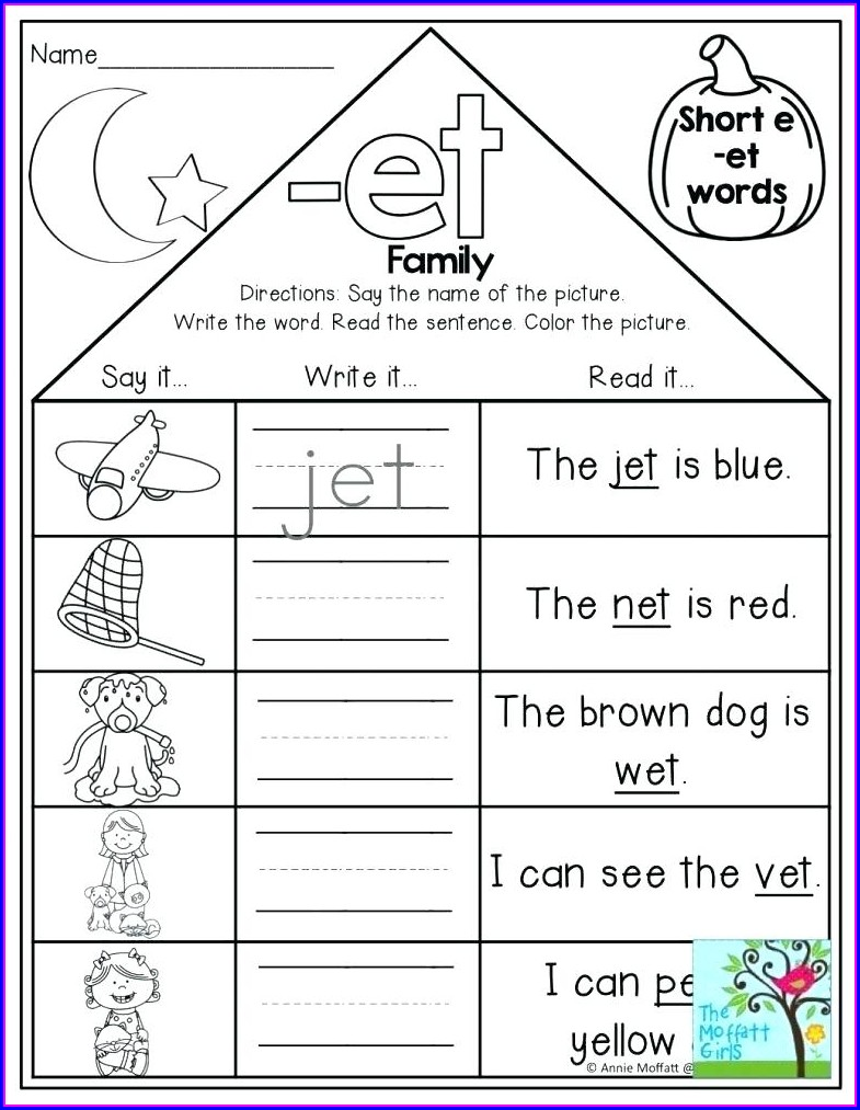 Et Word Family Worksheets Pdf