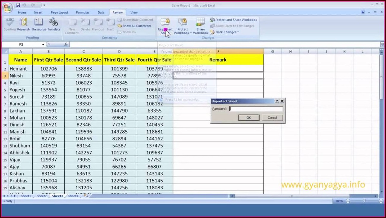 Excel 2007 How To Protect Worksheet