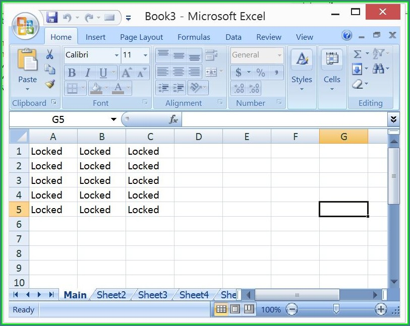 Excel 2007 Protect Multiple Worksheets
