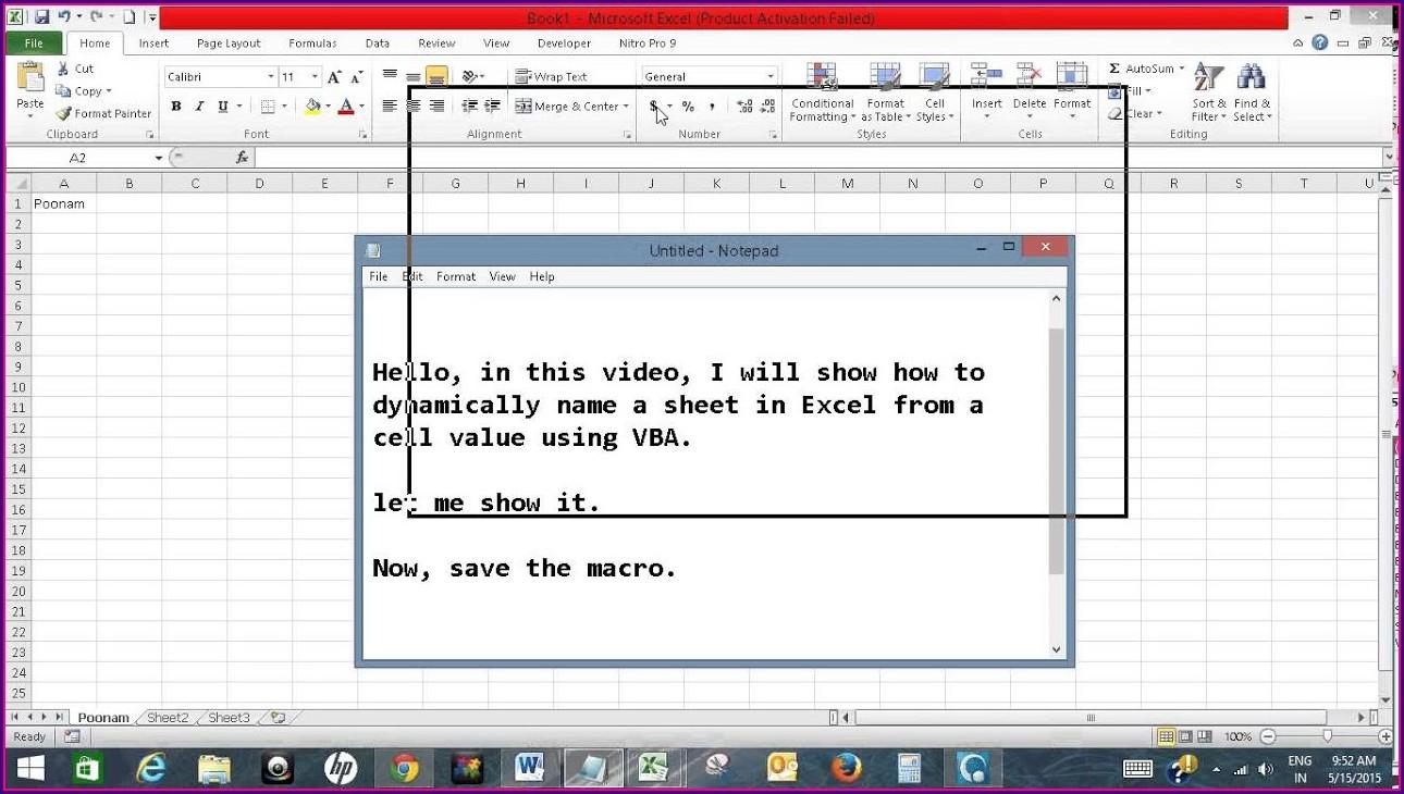 Excel Formula To Copy Worksheet Name