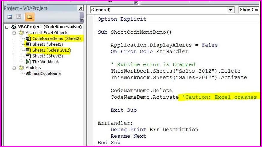 Excel Vba Get Worksheet By Codename