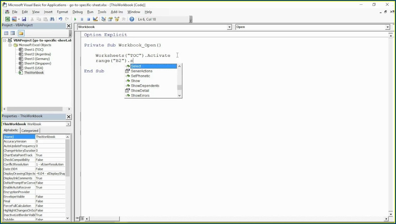 Excel Vba Make Worksheet Active