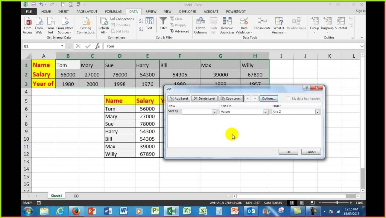 Excel Vba Sort Columns Left To Right