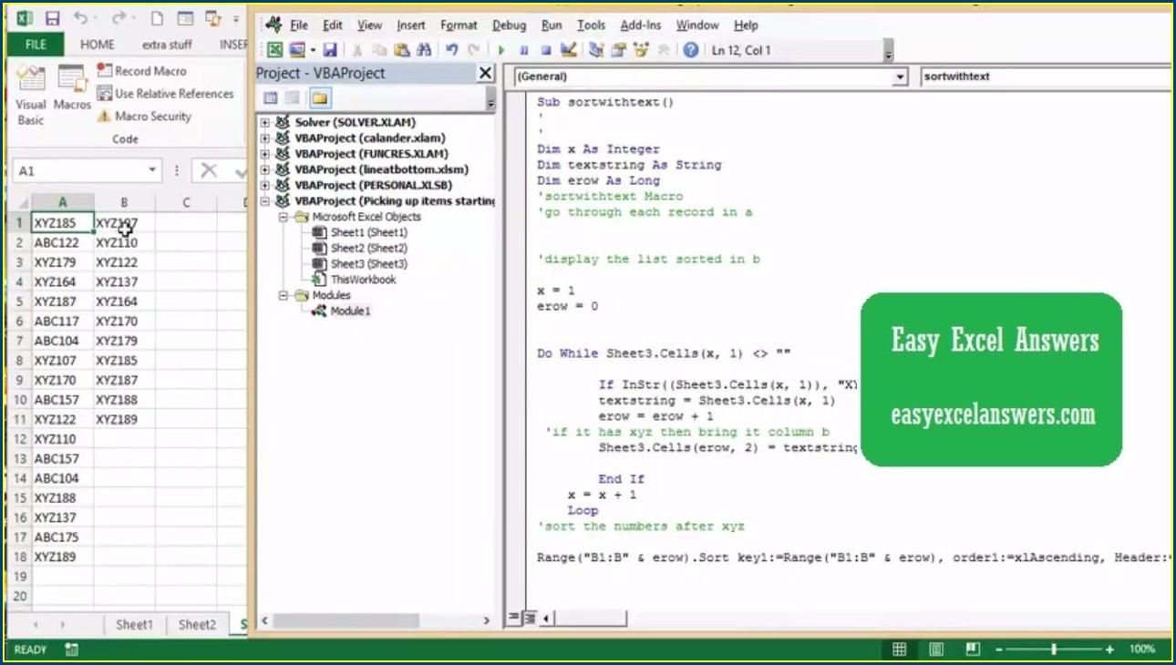 Excel Vba Sort Text As Numbers