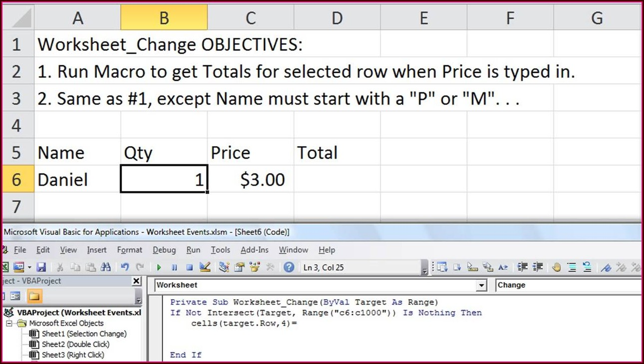 Excel Vba Worksheet Change Event Example