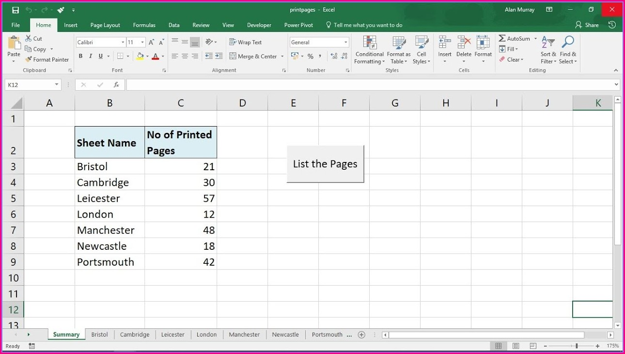 Excel Vba Worksheet Print