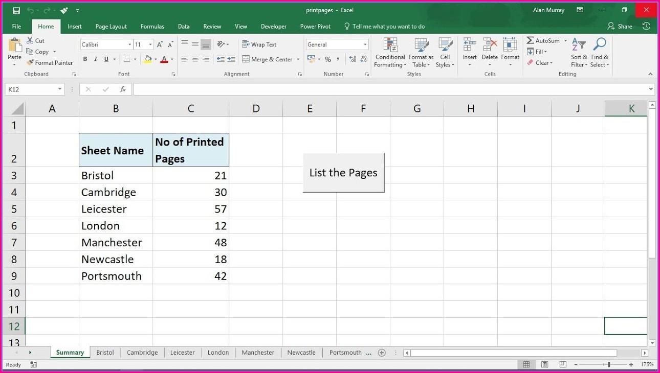 Excel Vba Worksheet Print