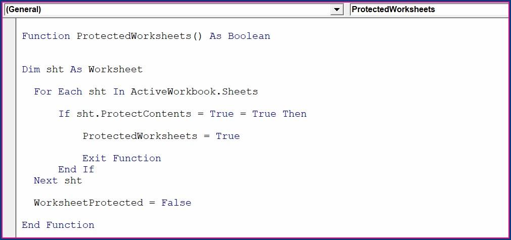 Excel Vba Worksheet Protect Function