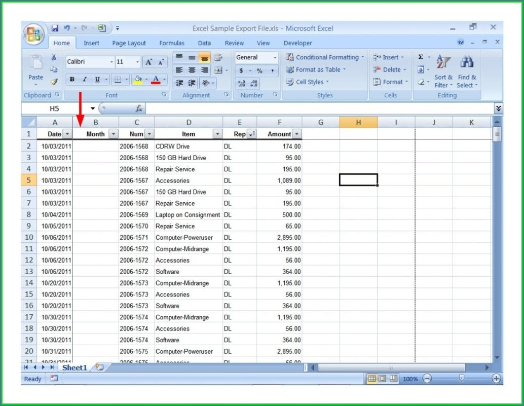 Excel Worksheet Examples For Students
