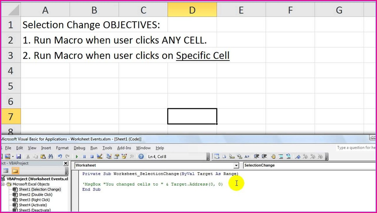 Excel Worksheet Focus Event