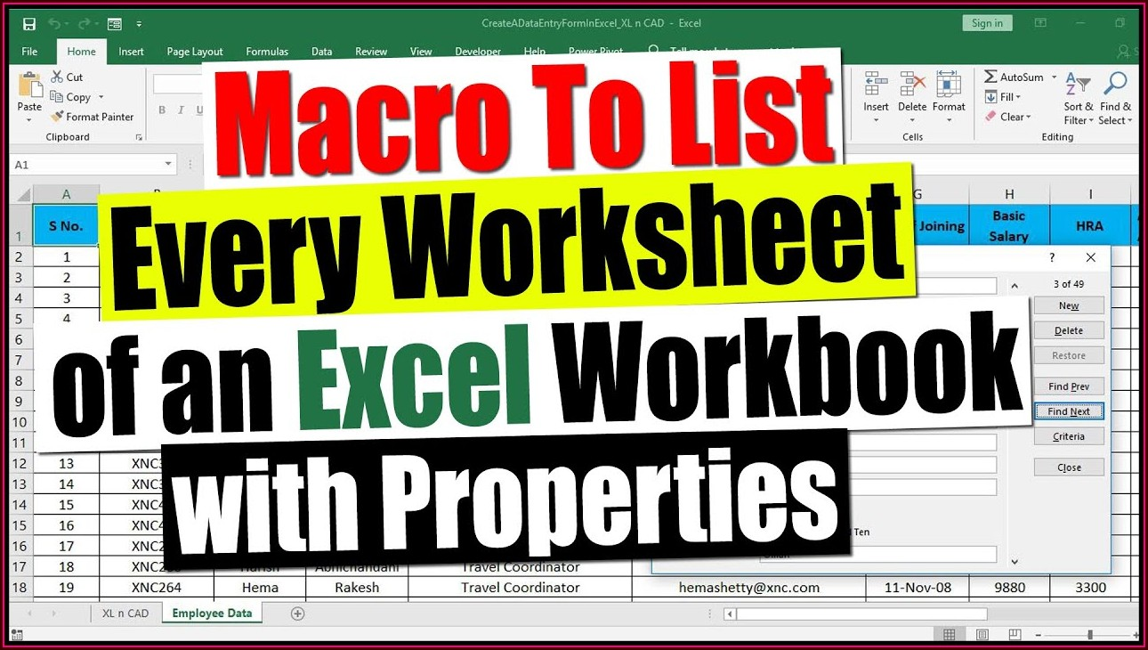 Extract Worksheet Name Excel