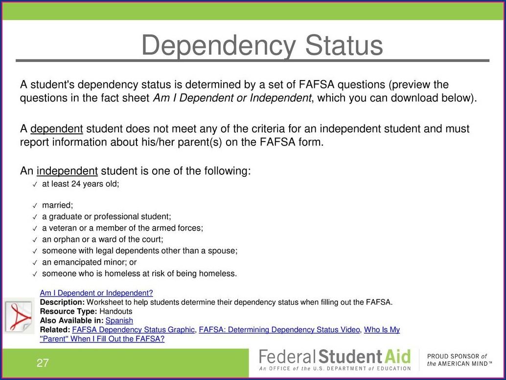 Fafsa Dependency Status Worksheet