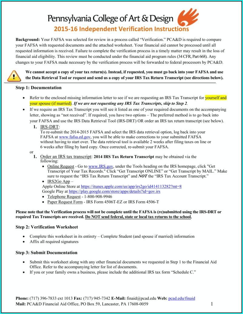 Fafsa On The Web Worksheet 2015 16
