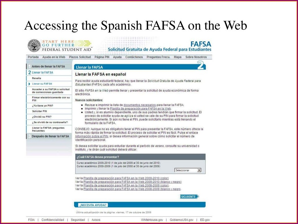 Fafsa On The Web Worksheet Spanish