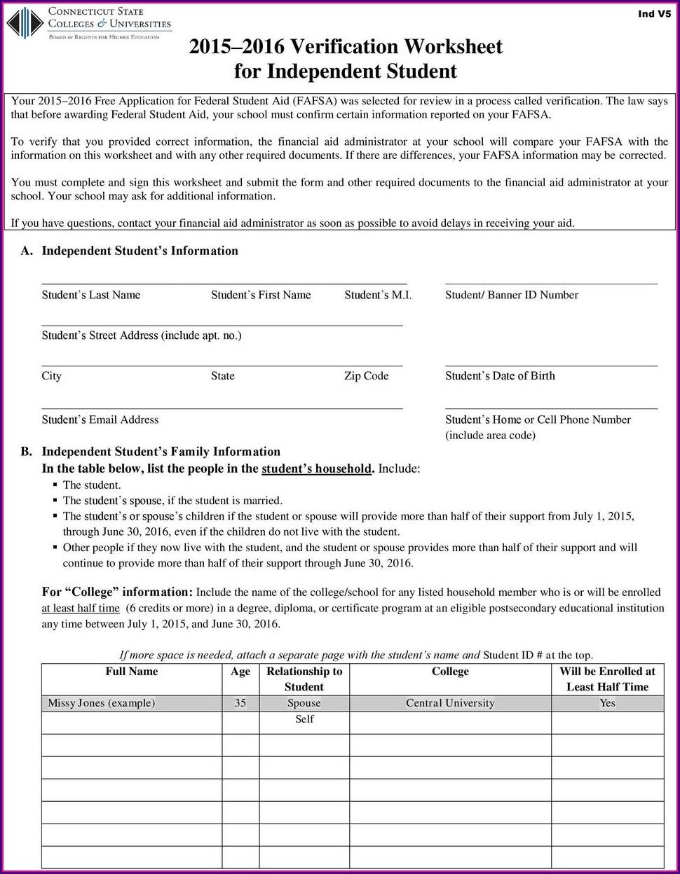Fafsa Verification Worksheet For Independent Students