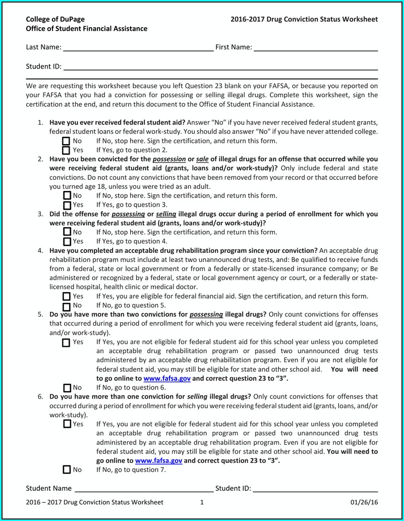 Fafsa Worksheet For Drug Conviction