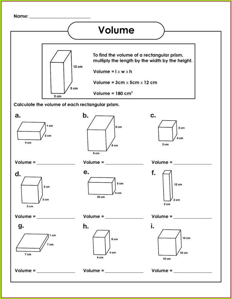 Fifth Grade 5th Grade Math Volume Worksheets