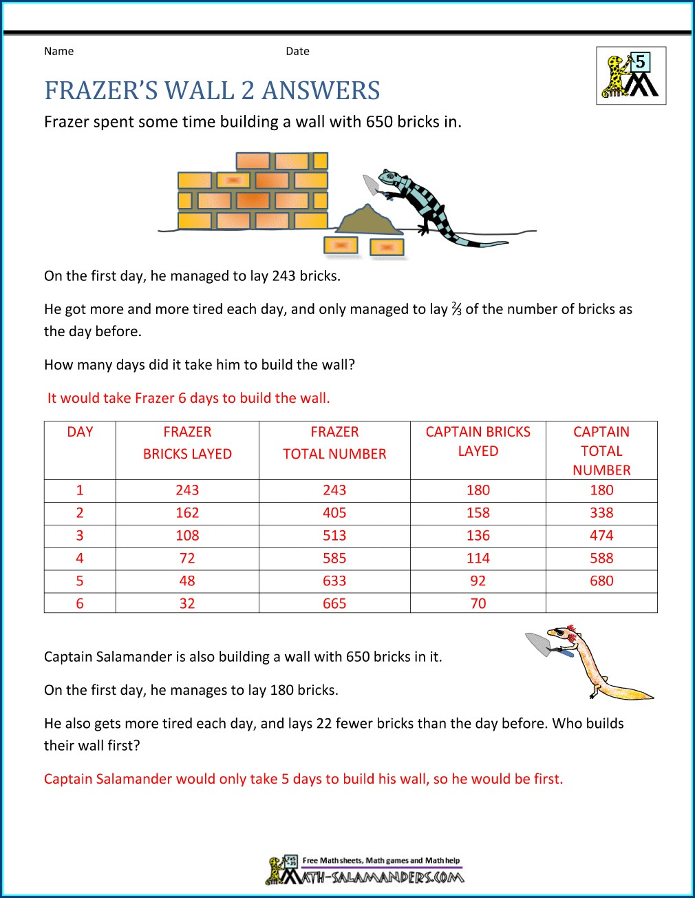 Fifth Grade 5th Grade Math Word Problems Worksheets With Answers