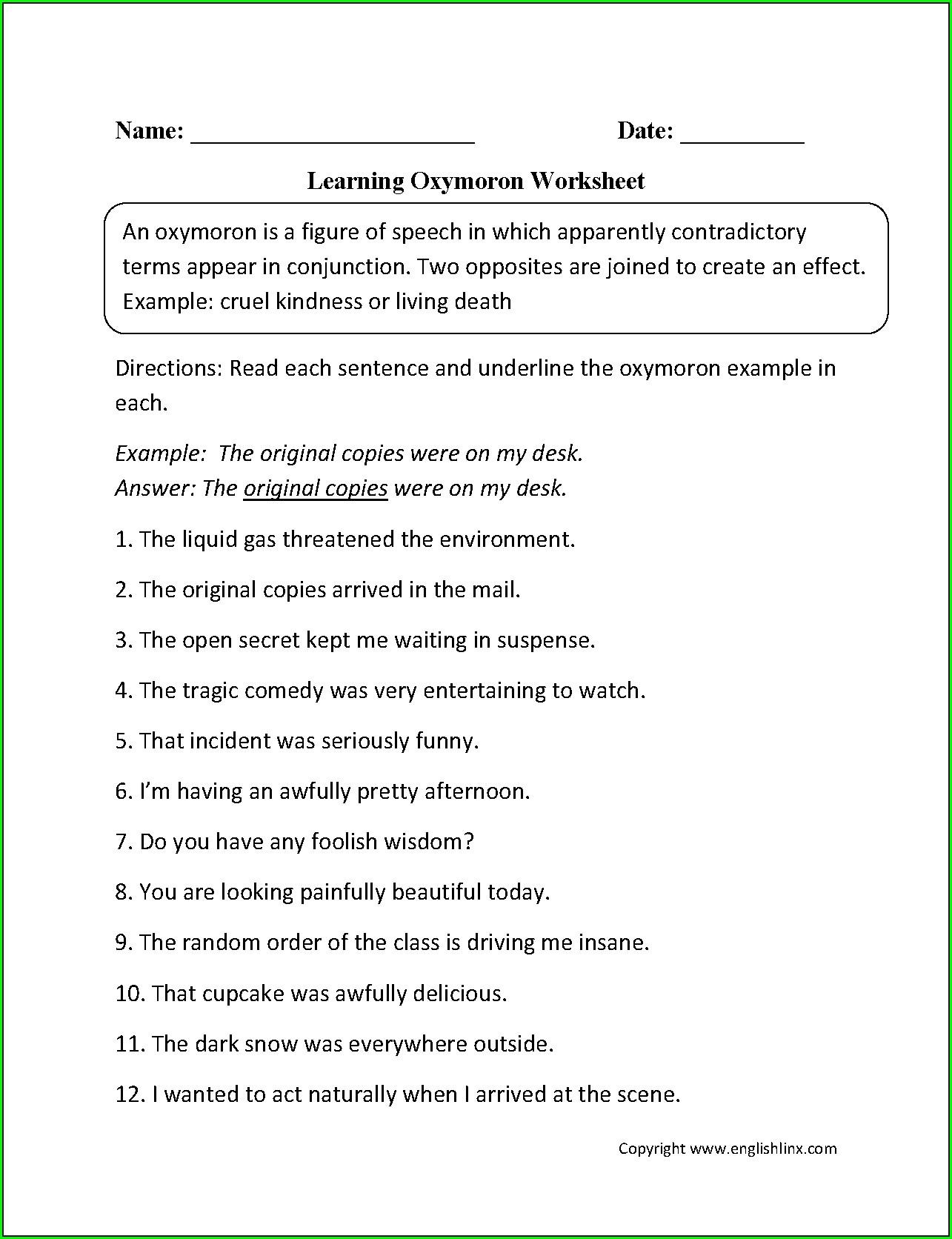 Figurative Language Worksheets Grade 3