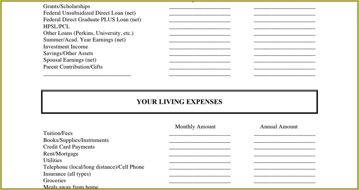 Financial Aid Budget Worksheet