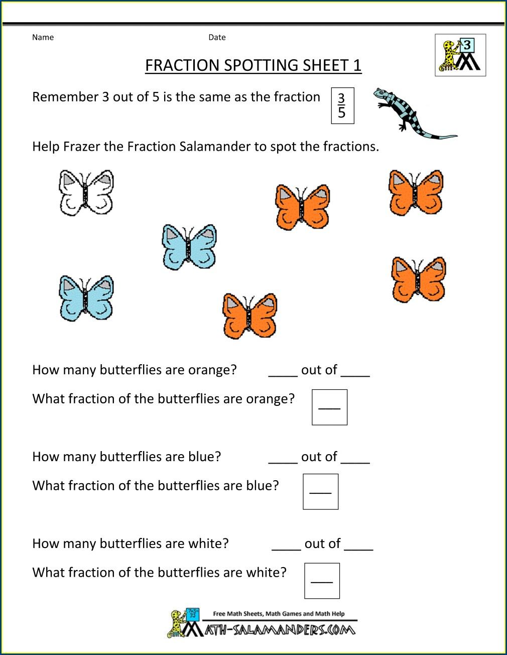 Finding Fractions Of A Set Worksheet